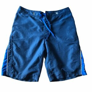 Hurley blue and white swim trunk board shorts